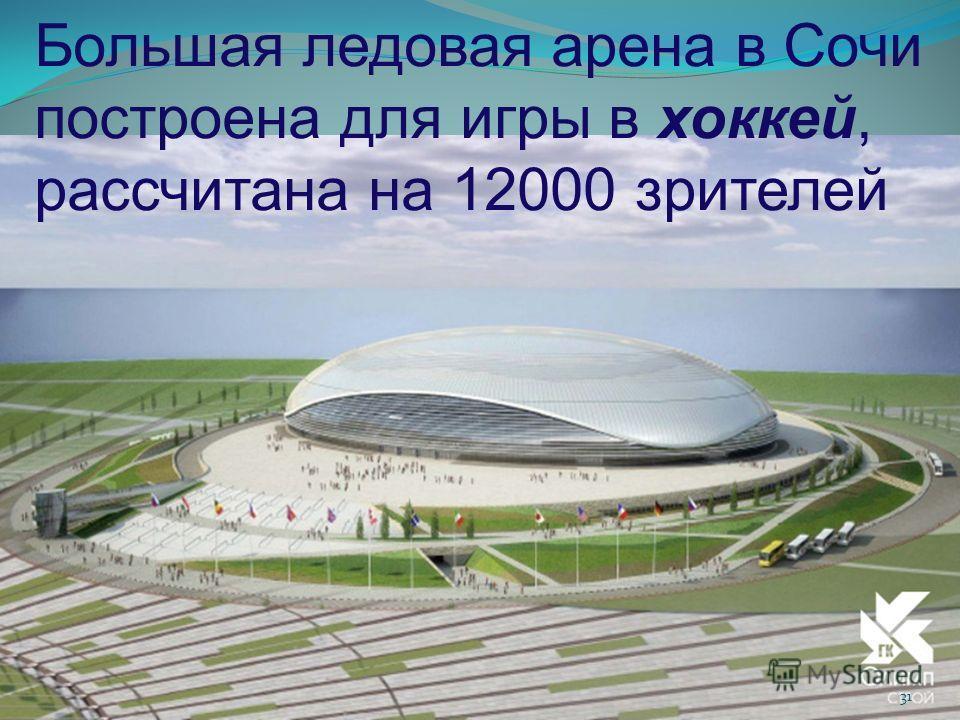 Большая ледовая арена в Сочи построена для игры в хоккей, рассчитана на 12000 зрителей 31