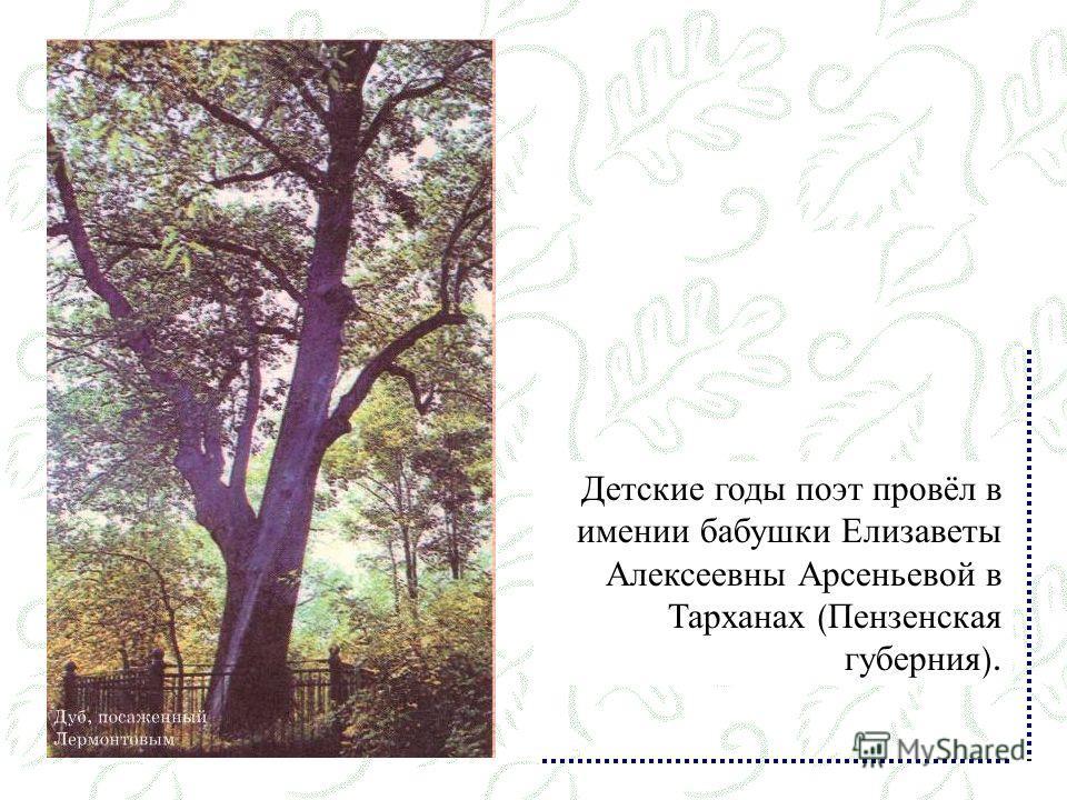 Детские годы поэт провёл в имении бабушки Елизаветы Алексеевны Арсеньевой в Тарханах ( Пензенская губерния ).