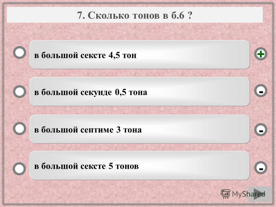 Вопрос в большой сексте 4,5 тон в большой секунде 0,5 тона в большой септиме 3 тона в большой сексте 5 тонов - - + - 7. Сколько тонов в б.6 ?
