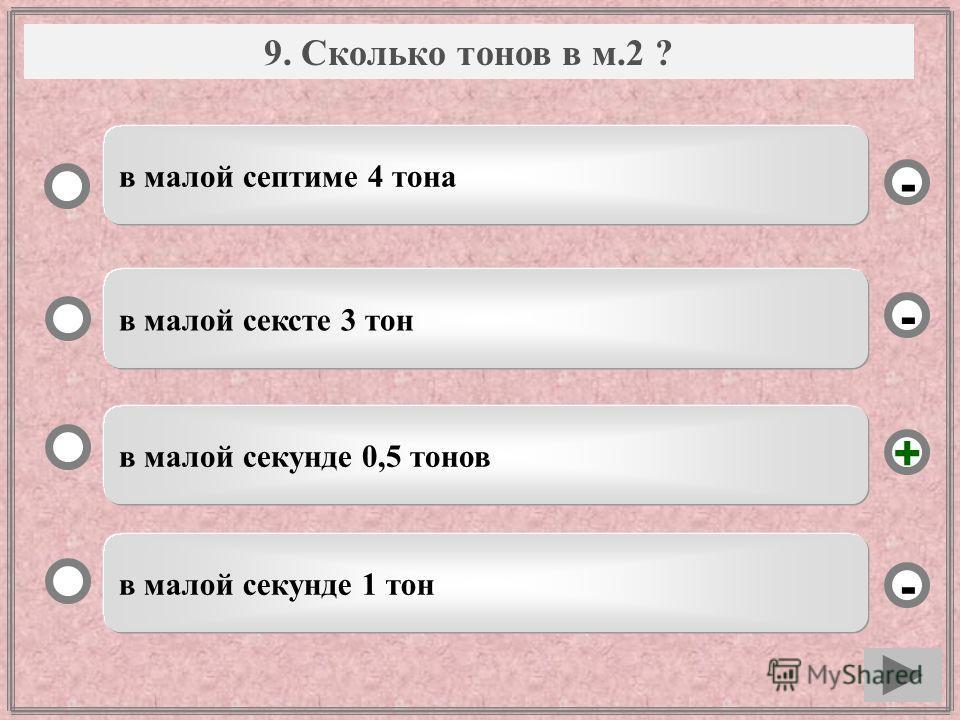 Вопрос в малой секунде 0,5 тонов в малой сексте 3 тон в малой секунде 1 тон в малой септиме 4 тона - - + - 9. Сколько тонов в м.2 ?
