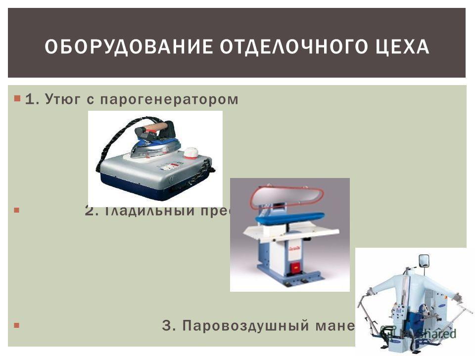 ОБОРУДОВАНИЕ ОТДЕЛОЧНОГО ЦЕХА 1. Утюг с парогенератором 2. Гладильный пресс 3. Паровоздушный манекен