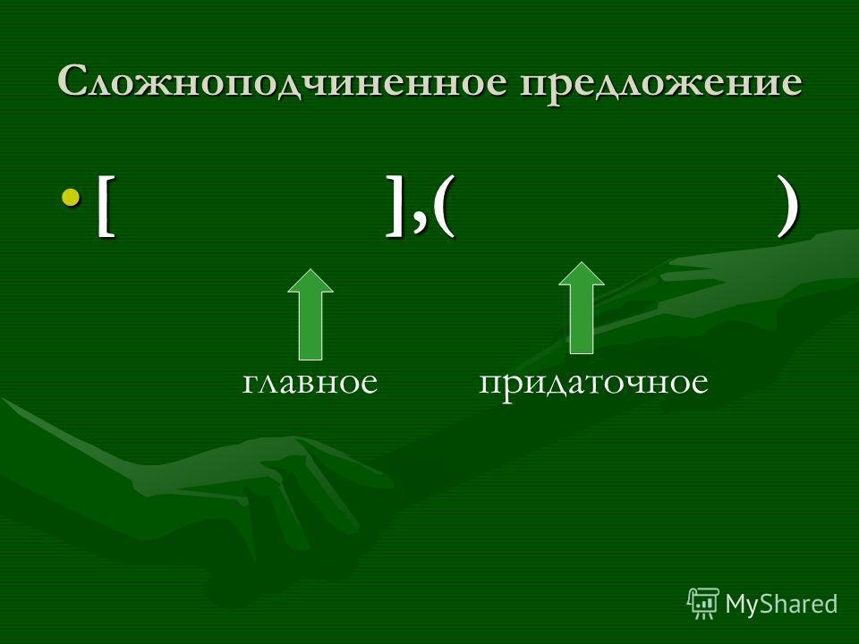 Сложноподчиненное предложение [ ],( )[ ],( ) главное придаточное