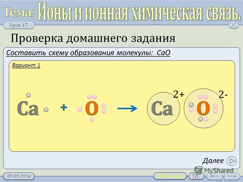Урок 1 7 09.09.2014 ПС Проверка домашнего задания Составить схему образования молекулы: CaO 2+ 2- Вариант 1 Далее
