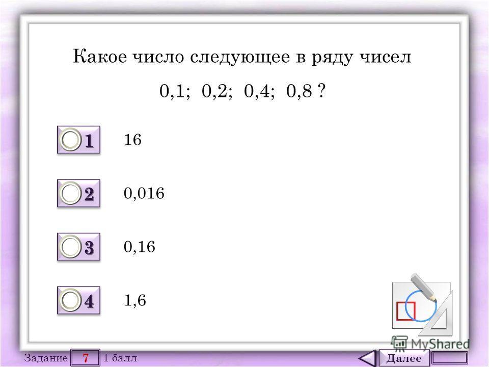 Далее 7 Задание 1 балл 1111 1111 2222 2222 3333 3333 4444 4444 Какое число следующее в ряду чисел 0,1; 0,2; 0,4; 0,8 ? 16 0,16 0,016 1,6