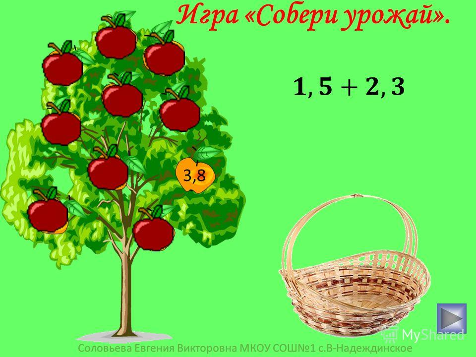 3,8 0,4 3,6 15 0,25 0,6 36 2,01 1 10 Игра «Собери урожай».