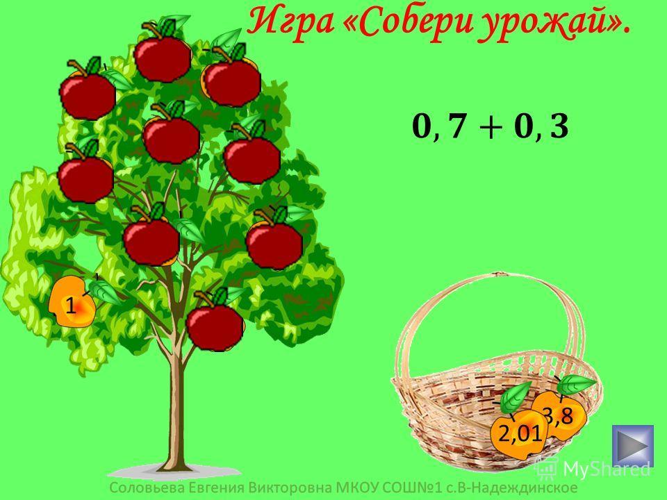 3,9 0,4 3,6 15 0,25 0,6 36 2,1 1 10 3,8 2,01 Игра «Собери урожай».