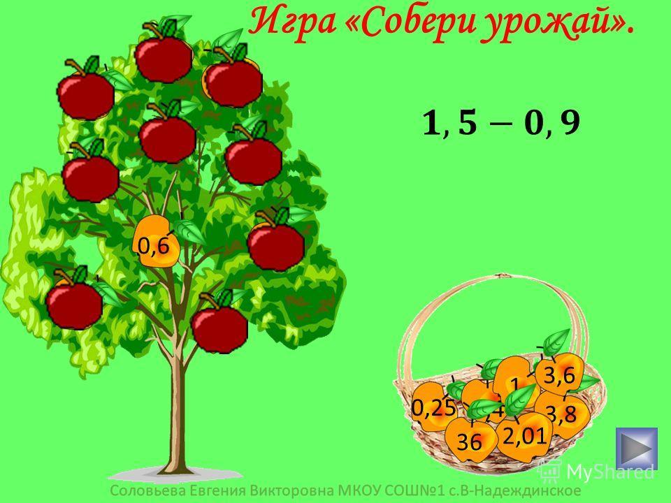 3,9 0,4 5,6 15 0,25 0,6 0,36 2,1 1 10 0,25 0,4 1 3,8 2,01 36 3,6 Игра «Собери урожай».