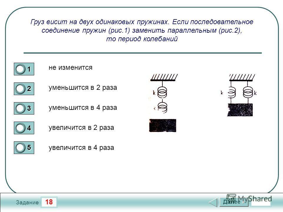 18 Задание Груз висит на двух одинаковых пружинах. Если последовательное соединение пружин (рис.1) заменить параллельным (рис.2), то период колебаний 1 2 3 4 5 уменьшится в 2 раза не изменится уменьшится в 4 раза увеличится в 2 раза увеличится в 4 ра