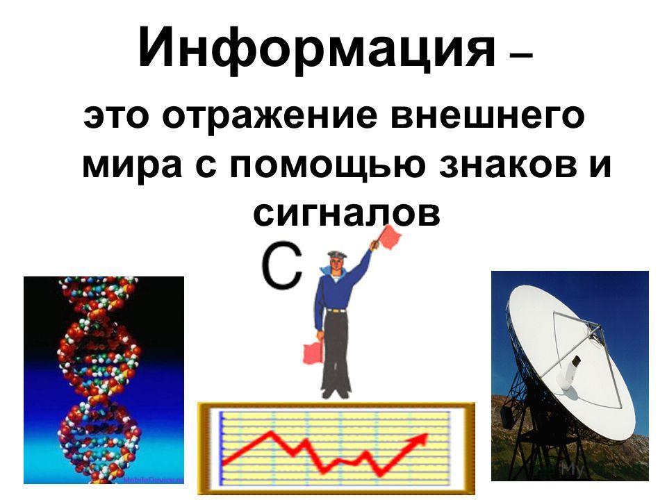 Информация – это отражение внешнего мира с помощью знаков и сигналов