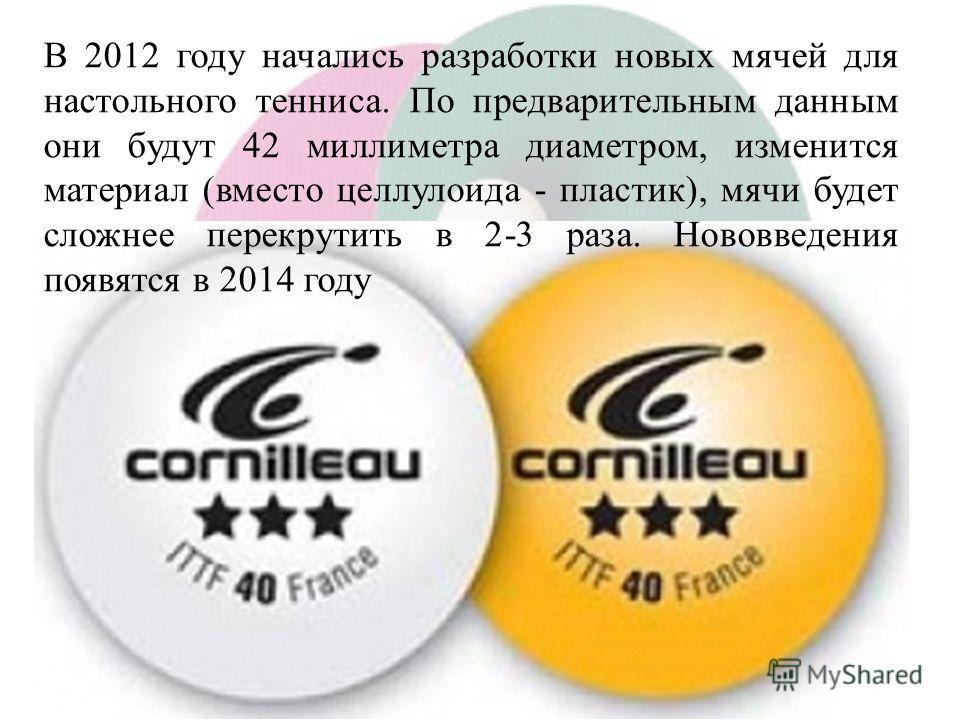 В 2012 году начались разработки новых мячей для настольного тенниса. По предварительным данным они будут 42 миллиметра диаметром, изменится материал (вместо целлулоида - пластик), мячи будет сложнее перекрутить в 2-3 раза. Нововведения появятся в 201