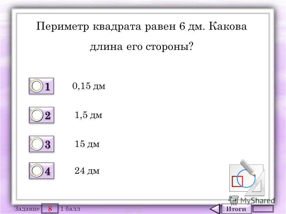Итоги 8 Задание 1 балл 1111 1111 2222 2222 3333 3333 4444 4444 Периметр квадрата равен 6 дм. Какова длина его стороны? 0,15 дм 1,5 дм 15 дм 24 дм