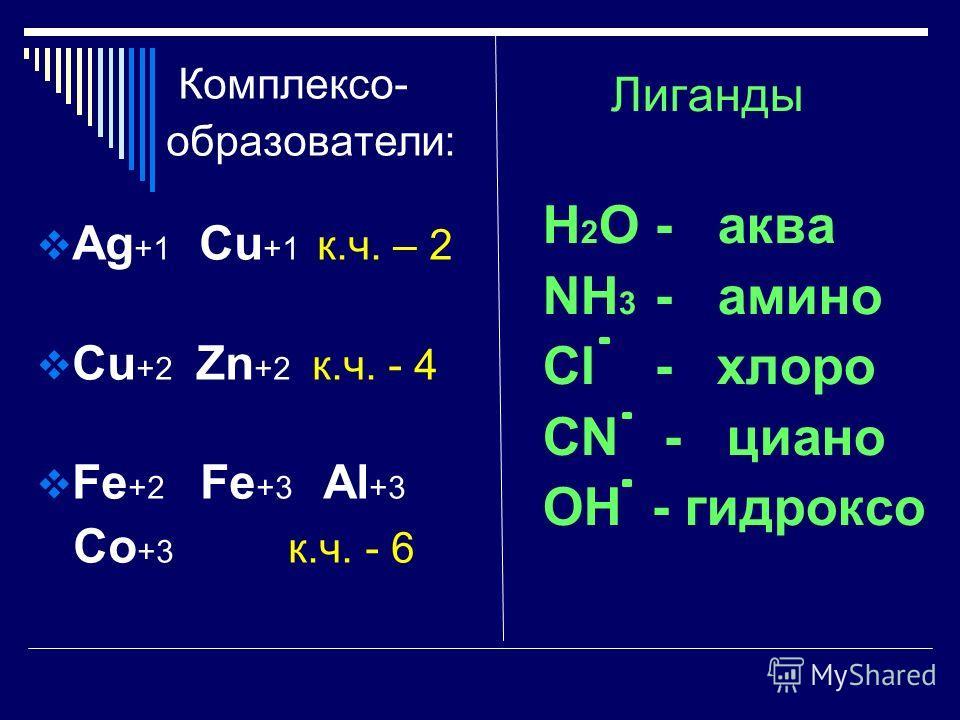 Составление формул Центральный атом - комплексообразователь (элементы побочных групп или d-элементы). Лиганды – молекулы или ионы соединенные с комплексообразователем. Координационное число – общее число лигандов, соединенных с комплексообразователем