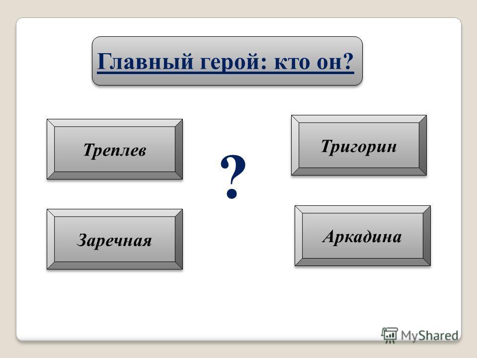 Главный герой: кто он? Треплев Тригорин Аркадина Заречная ?