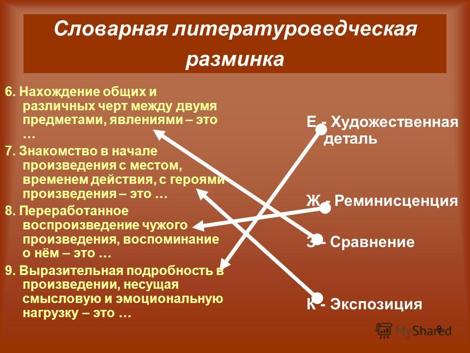 8 6. Нахождение общих и различных черт между двумя предметами, явлениями – это … 7. Знакомство в начале произведения с местом, временем действия, с героями произведения – это … 8. Переработанное воспроизведение чужого произведения, воспоминание о нём