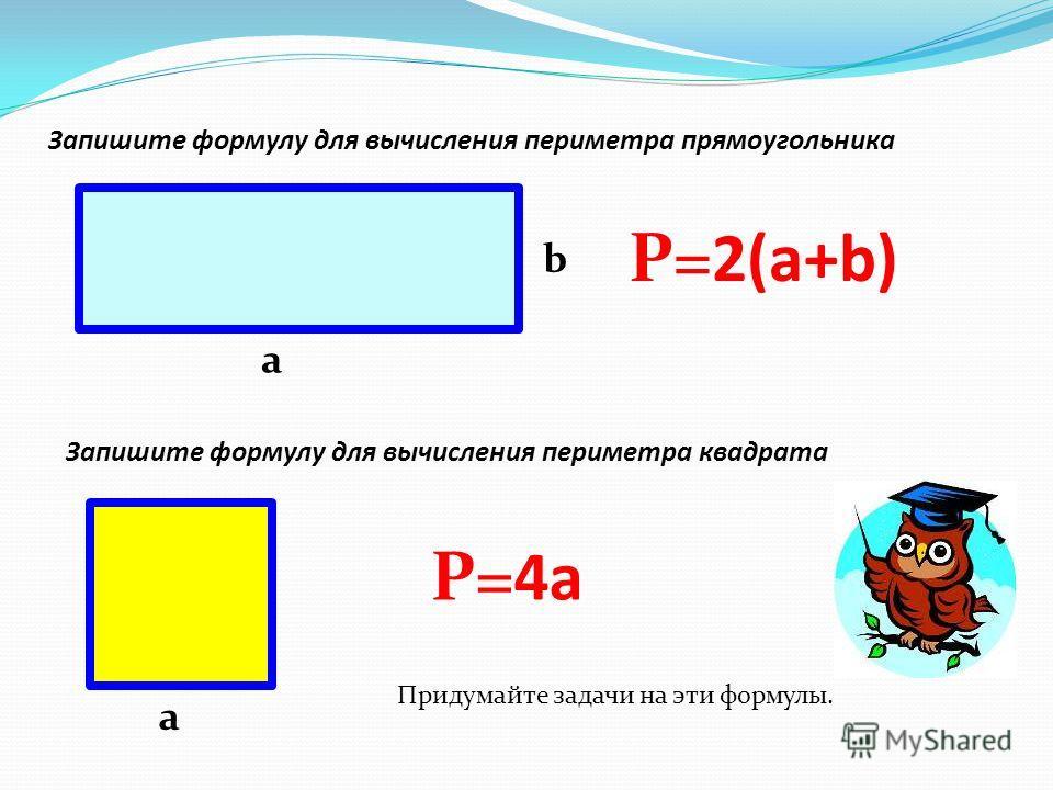 Запишите формулу для вычисления периметра прямоугольника а b Р=2(а+b) Запишите формулу для вычисления периметра квадрата а Р=4 а Придумайте задачи на эти формулы.