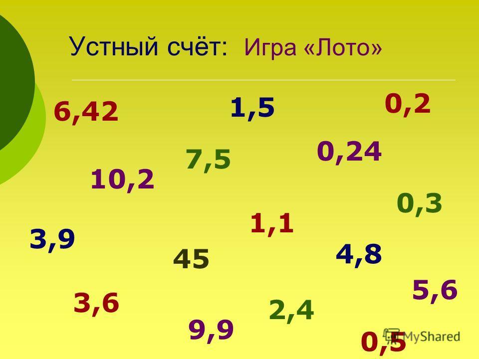 Устный счёт: Игра «Лото» 6,42 1,5 10,2 0,24 3,9 0,3 45 4,8 3,6 2,4 5,6 0,2 1,1 7,5 9,9 0,5