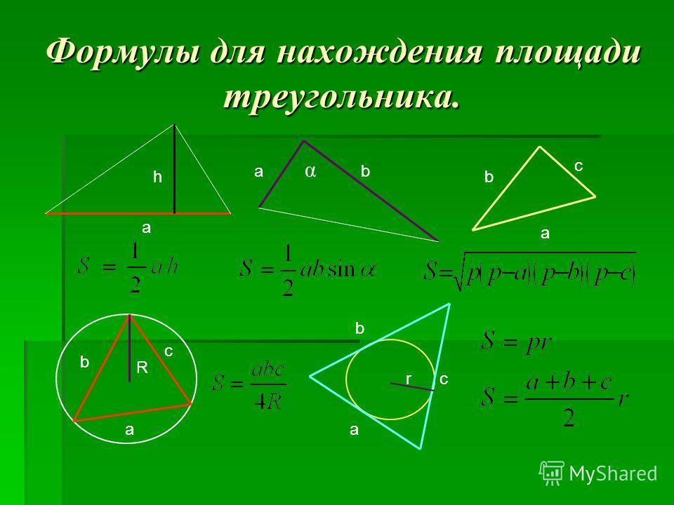 Формулы для нахождения площади треугольника. а h аb α a b c R a b c a b cr