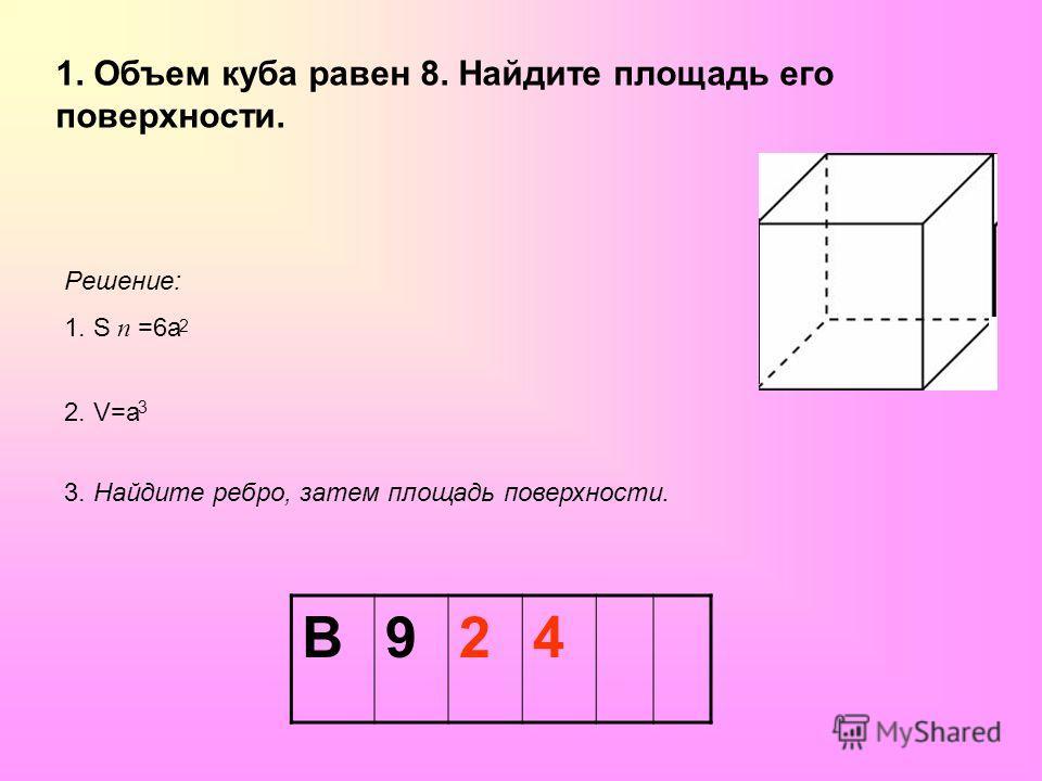 1. Объем куба равен 8. Найдите площадь его поверхности. Решение: 1. S п =6 а 2 2. V=а 3 3. Найдите ребро, затем площадь поверхности. В924