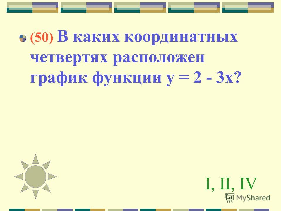 I, II, IV (50) В каких координатных четвертях расположен график функции у = 2 - 3 х?