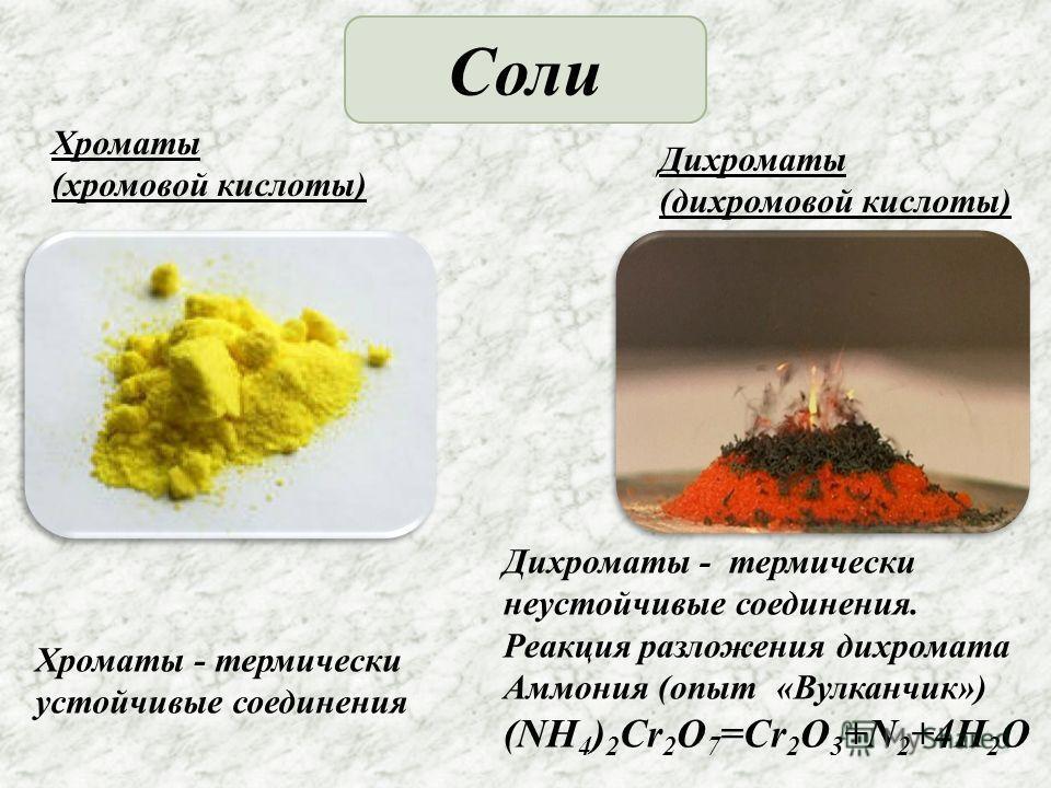 Соли Хроматы (хромовой кислоты) Дихроматы (дихромовой кислоты) Дихроматы - термически неустойчивые соединения. Реакция разложения дихромата Аммония (опыт «Вулканчик») (NH 4 ) 2 Cr 2 O 7 =Cr 2 O 3 +N 2 +4H 2 O Хроматы - термически устойчивые соединени