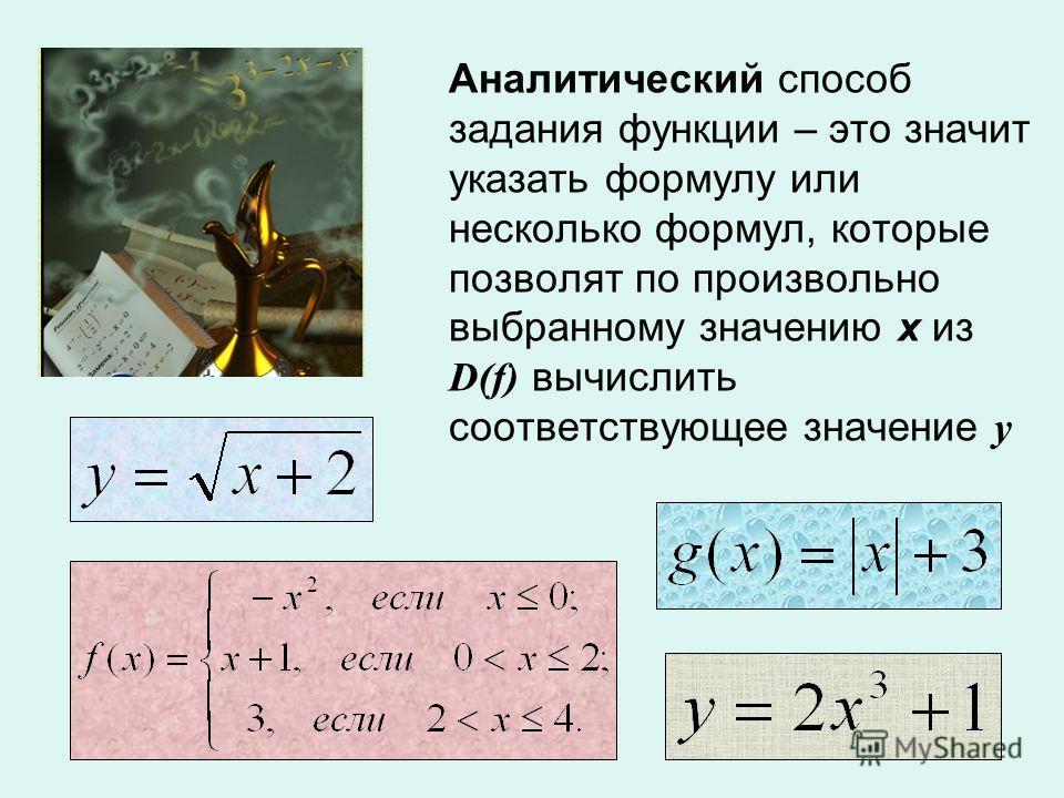 Аналитический способ задания функции – это значит указать формулу или несколько формул, которые позволят по произвольно выбранному значению х из D(f) вычислить соответствующее значение у