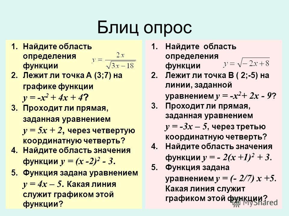 Блиц опрос 1. Найдите область определения функции 2. Лежит ли точка А (3;7) на графике функции у = -х 2 + 4 х + 4 ? 3. Проходит ли прямая, заданная уравнением у = 5 х + 2, через четвертую координатную четверть? 4. Найдите область значения функции у =