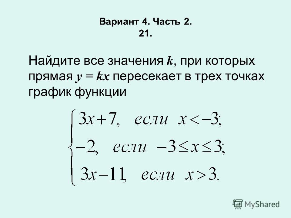 Вариант 4. Часть 2. 21. Найдите все значения k, при которых прямая у = kх пересекает в трех точках график функции