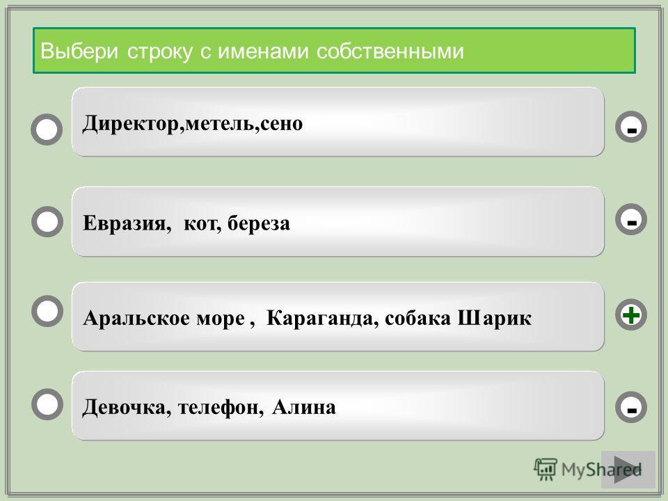 Аральское море, Караганда, собака Шарик Евразия, кот, береза Девочка, телефон, Алина Директор,метель,сено - - + - Выбери строку с именами собственными
