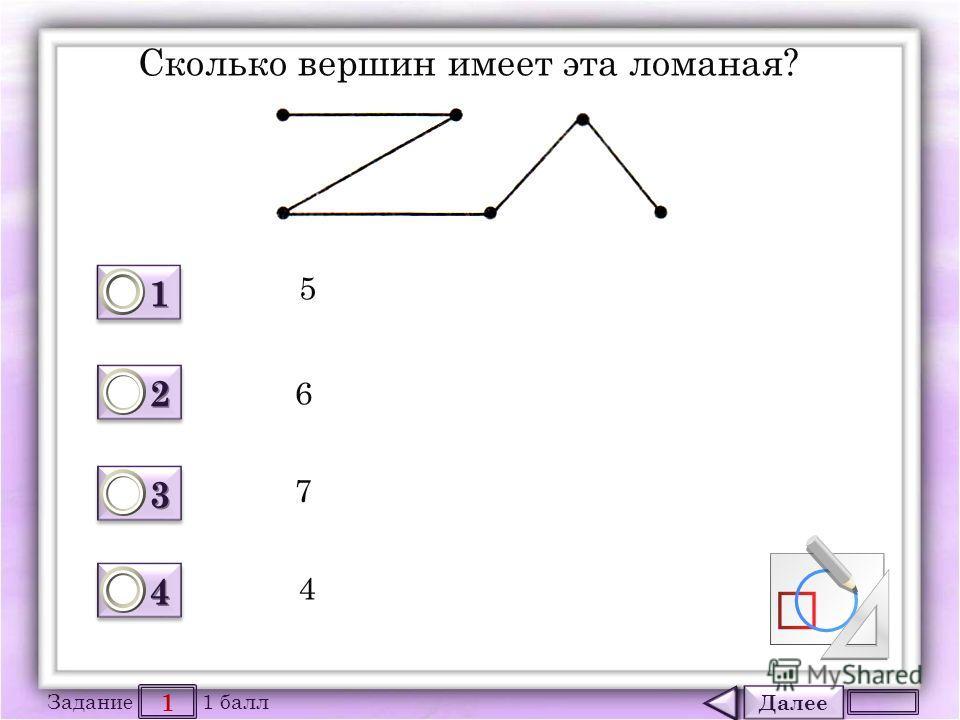 Далее 1 Задание 1 балл 1111 1111 2222 2222 3333 3333 4444 4444 Сколько вершин имеет эта ломаная? 5 6 7 4