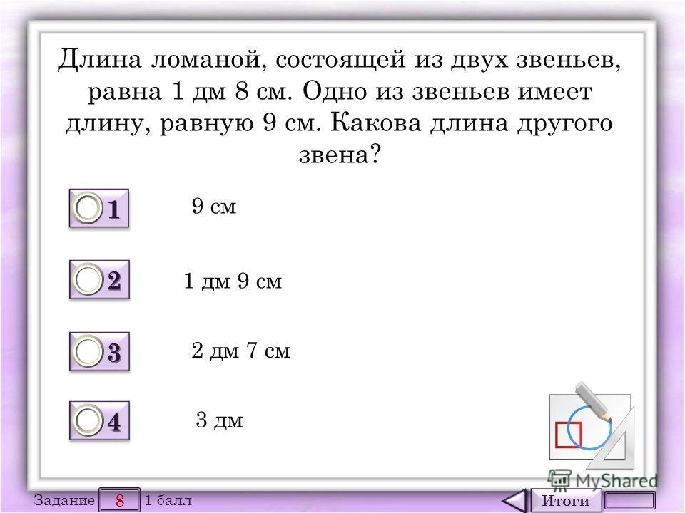 Итоги 8 Задание 1 балл 1111 1111 2222 2222 3333 3333 4444 4444 Длина ломаной, состоящей из двух звеньев, равна 1 дм 8 см. Одно из звеньев имеет длину, равную 9 см. Какова длина другого звена? 9 см 1 дм 9 см 2 дм 7 см 3 дм
