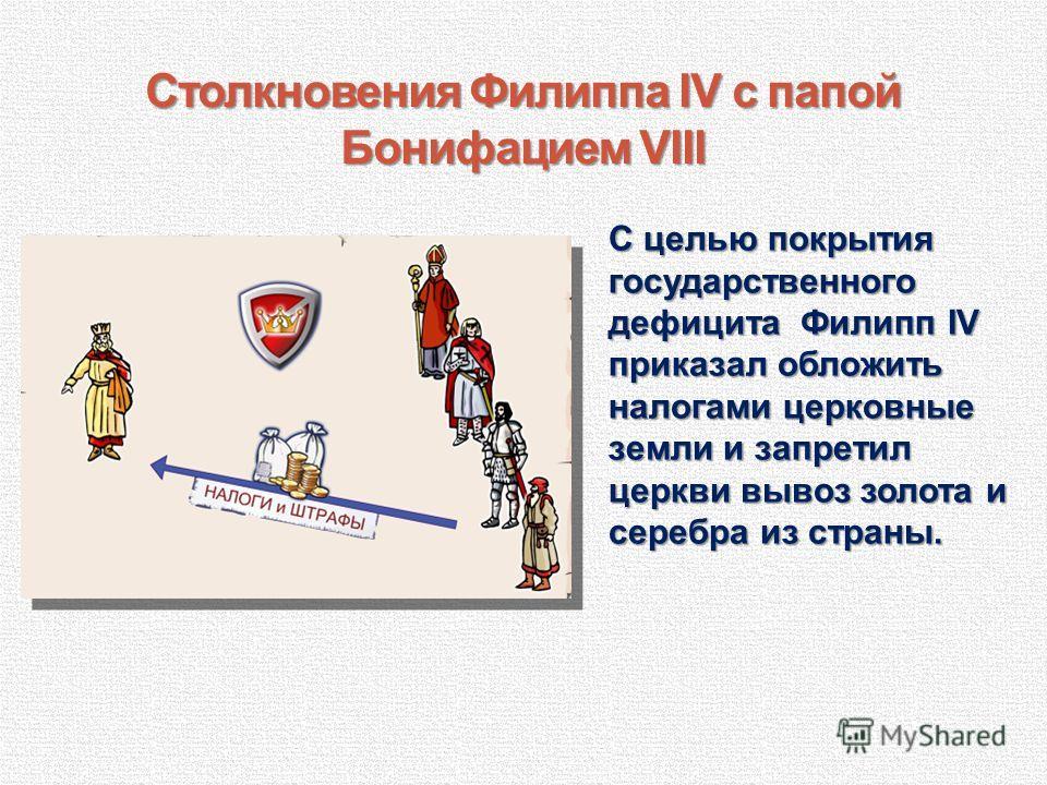 Столкновения Филиппа IV с папой Бонифацием VIII С целью покрытия государственного дефицита Филипп IV приказал обложить налогами церковные земли и запретил церкви вывоз золота и серебра из страны.