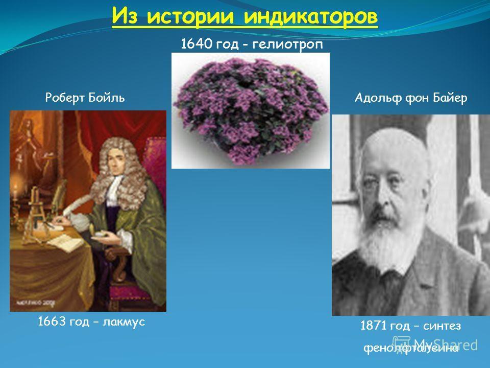 Из истории индикаторов 1640 год - гелиотроп 1663 год – лакмус 1871 год – синтез фенолфталеина Роберт Бойль Адольф фон Байер