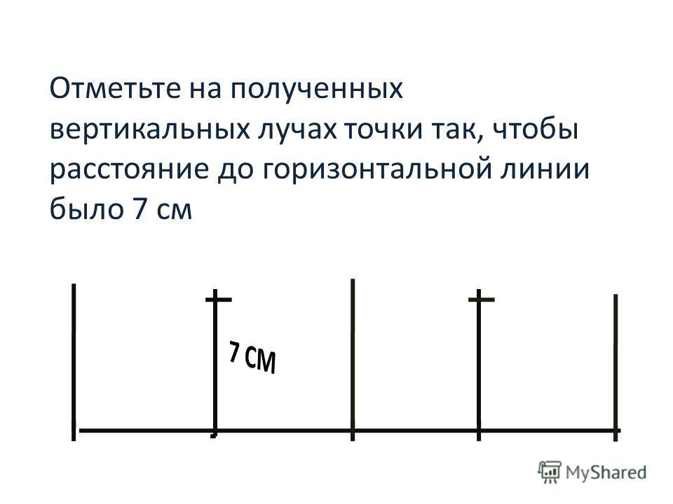 Отметьте на полученных вертикальных лучах точки так, чтобы расстояние до горизонтальной линии было 7 см