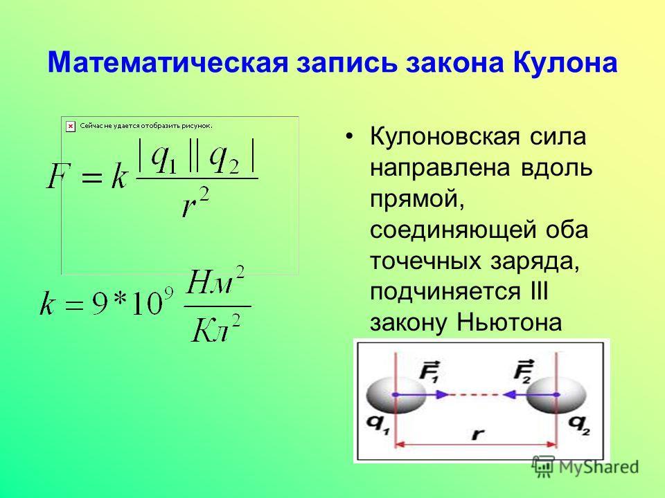 Кулоновская сила направлена вдоль прямой, соединяющей оба точечных заряда, подчиняется III закону Ньютона