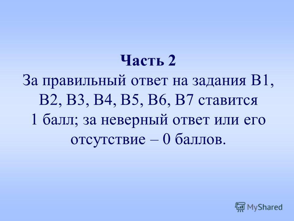 Часть 2 За правильный ответ на задания В1, В2, В3, В4, В5, В6, В7 ставится 1 балл; за невчерный ответ или его отсутствие – 0 баллов.