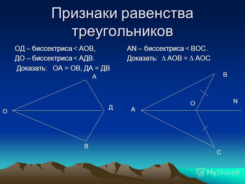 Признаки равенства треугольников ОД – биссектриса < АОВ, ДО – биссектриса < АДВ. Доказать: ОА = ОВ, ДА = ДВ АN – биссектриса < ВОС. Доказать: АОВ = АОС О А В Д В А С N О