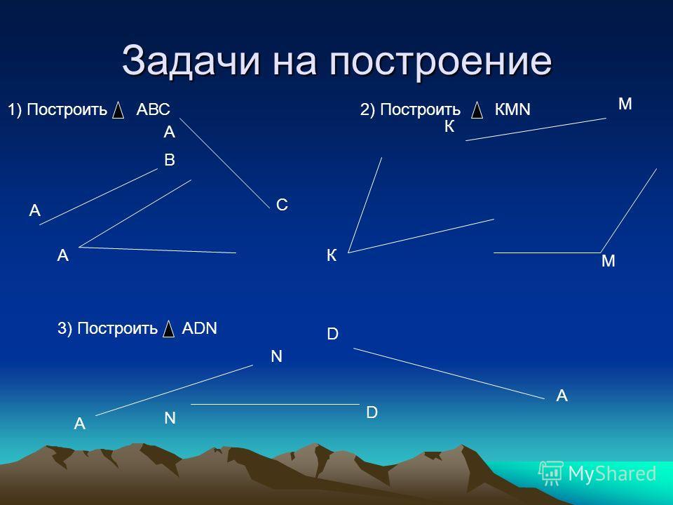 Задачи на построение В А А С А 1) Построить АВС2) Построить КМN К М К М 3) Построить АDN А N D D A N