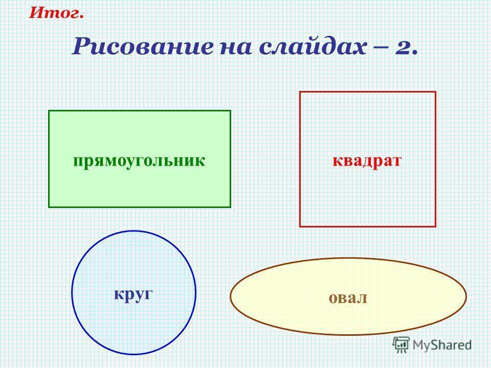 Рисование на слайдах – 2. прямоугольник квадрат круг овал Итог.