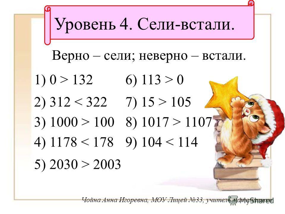 Уровень 4. Сели-встали. Верно – сели; неверно – встали. 1) 0 > 132 2) 312 < 322 3) 1000 > 100 4) 1178 < 178 5) 2030 > 2003 6) 113 > 0 7) 15 > 105 8) 1017 > 1107 9) 104 < 114 Чойна Анна Игоревна, МОУ Лицей 33, учитель математики