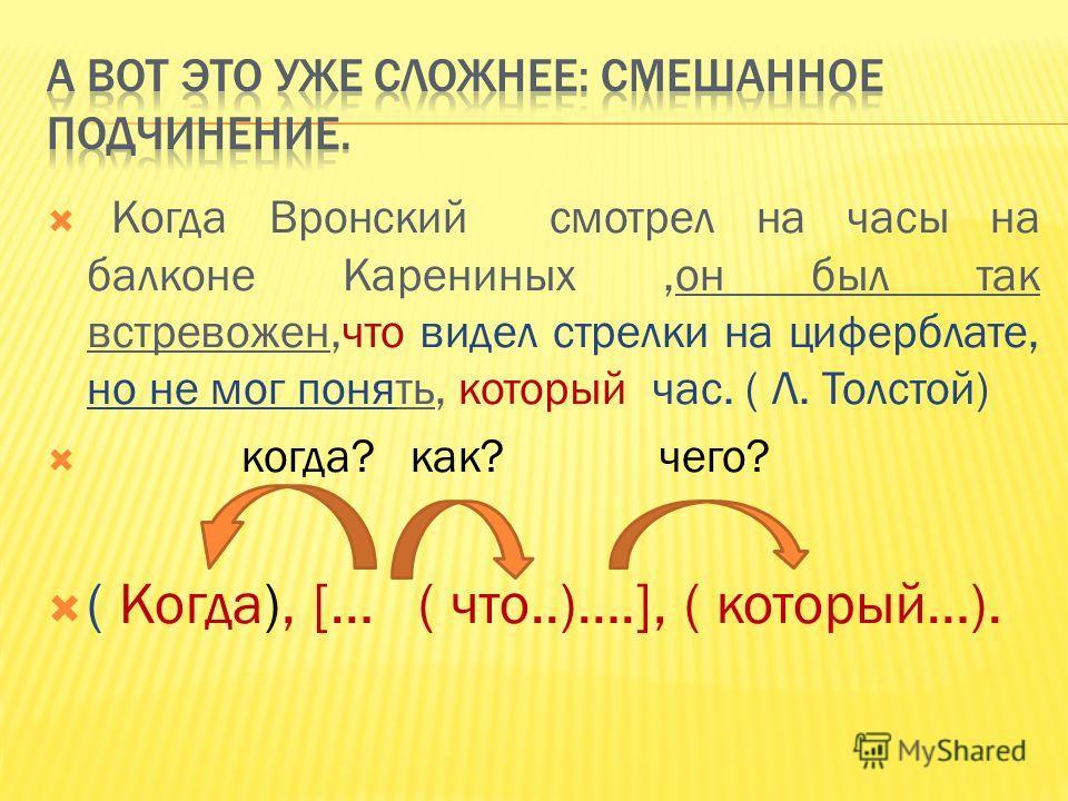 [ ], ( ), ( ) Придумайте предложение к этому виду подчинения 1 2 3
