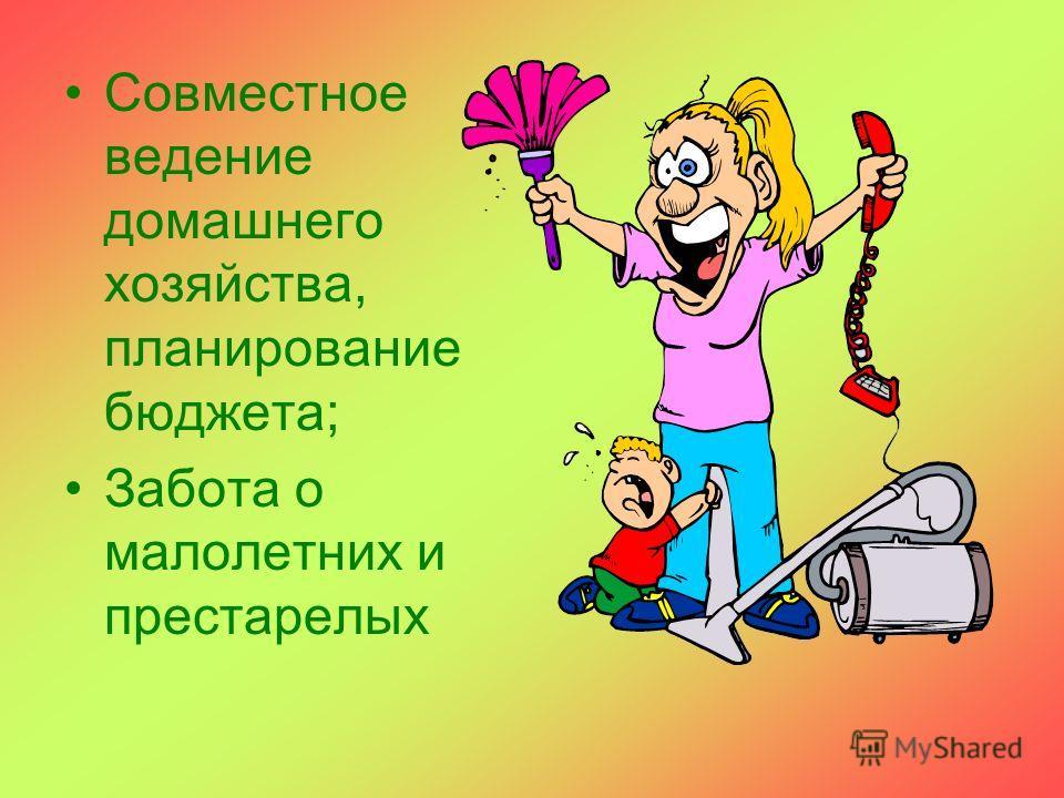 Совместное ведение домашнего хозяйства, планирование бюджета; Забота о малолетних и престарелых