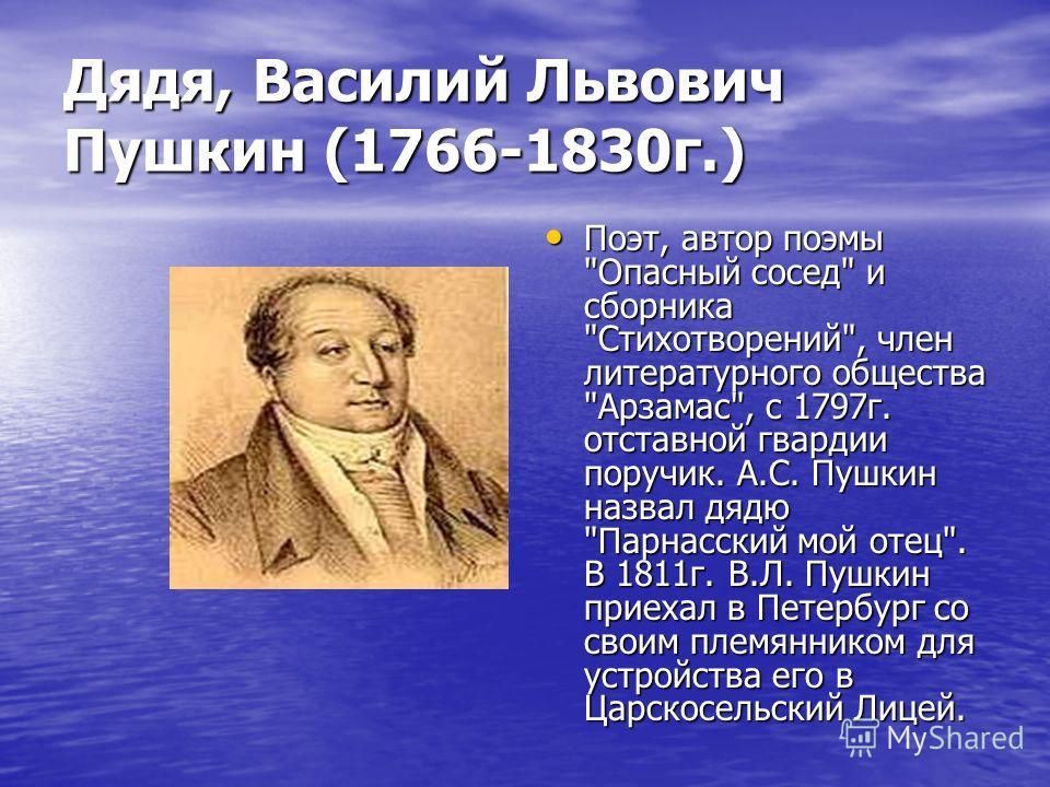Дядя, Василий Львович Пушкин (1766-1830 г.) Поэт, автор поэмы