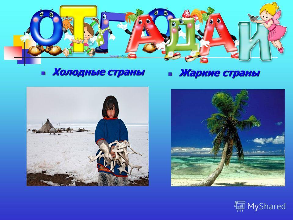 Холодные страны Холодные страны Жаркие страны Жаркие страны