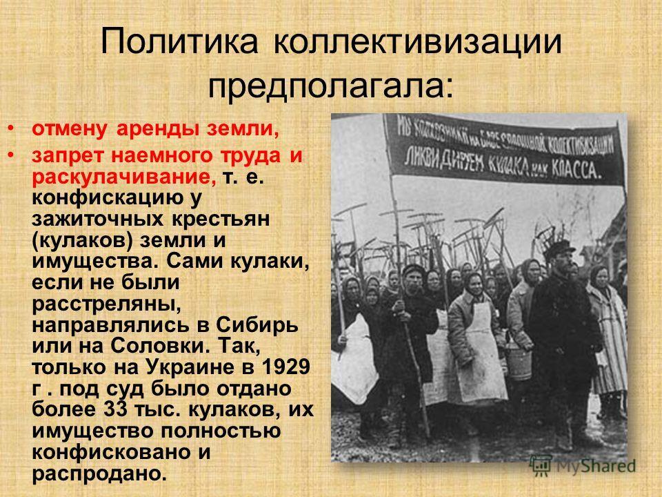 Политика коллективизации предполагала: отмену аренды земли, запрет наемного труда и раскулачивание, т. е. конфискацию у зажиточных крестьян (кулаков) земли и имущества. Сами кулаки, если не были расстреляны, направлялись в Сибирь или на Соловки. Так,