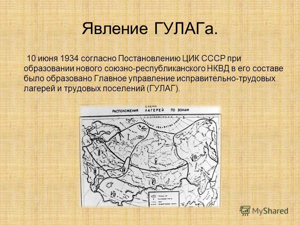 Явление ГУЛАГа. 10 июня 1934 согласно Постановлению ЦИК СССР при образовании нового союзно-республиканского НКВД в его составе было образовано Главное управление исправительно-трудовых лагерей и трудовых поселений (ГУЛАГ).