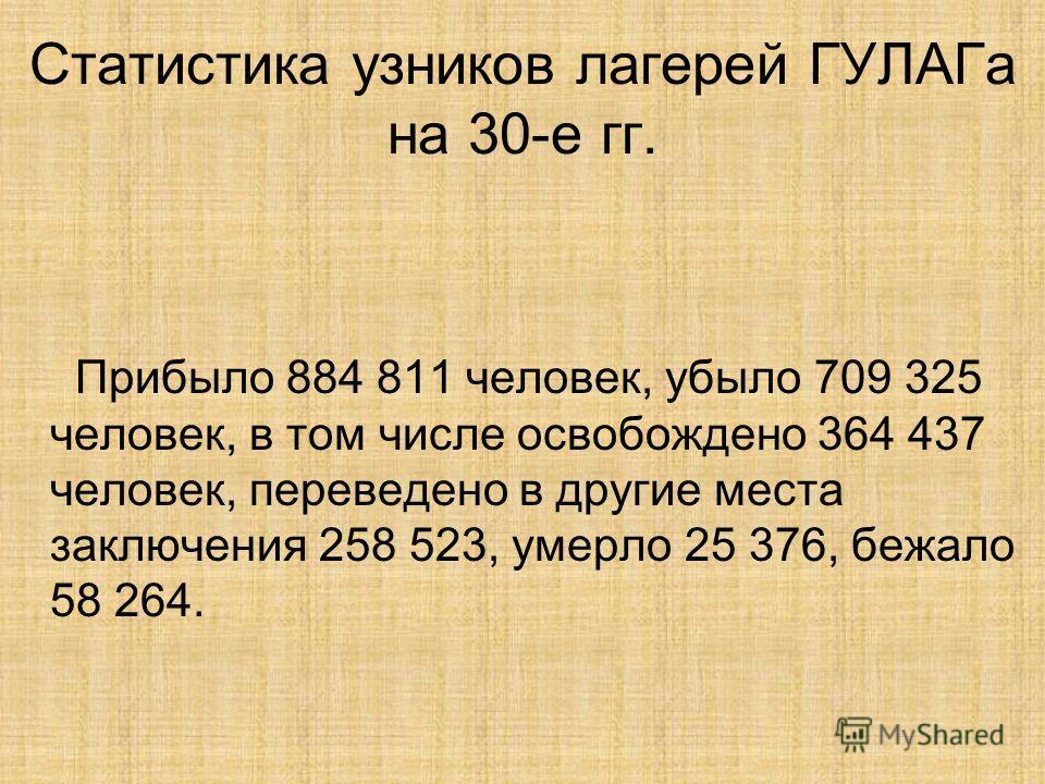 Статистика узников лагерей ГУЛАГа на 30-е гг. Прибыло 884 811 человек, убыло 709 325 человек, в том числе освобождено 364 437 человек, переведено в другие места заключения 258 523, умерло 25 376, бежало 58 264.