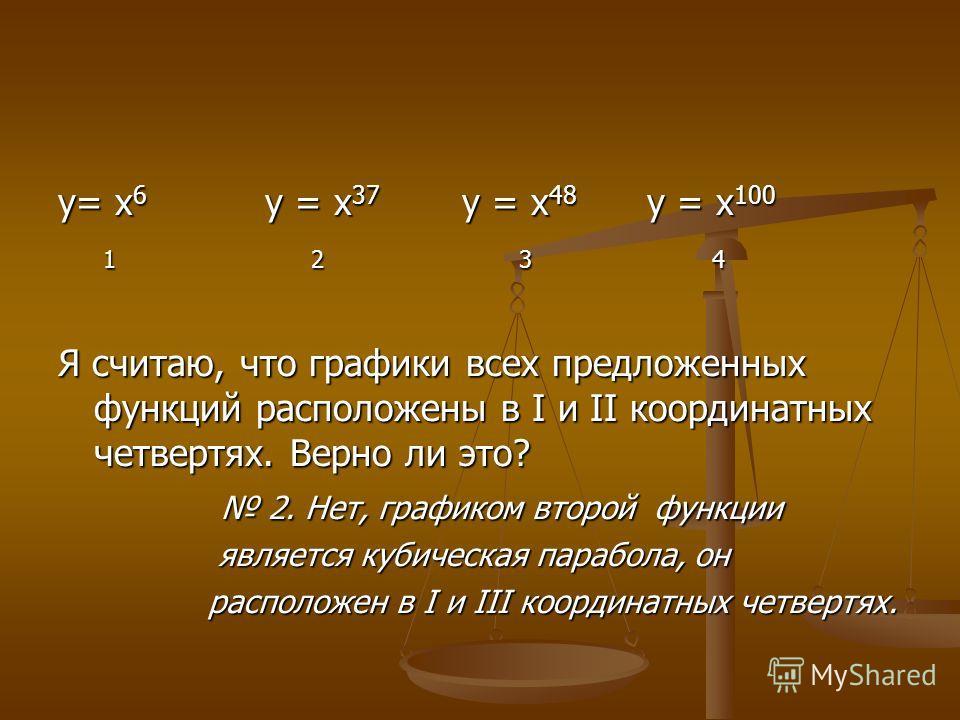 у= х 6 у = х 37 у = х 48 у = х 100 1 2 3 4 1 2 3 4 Я считаю, что графики всех предложенных функций расположены в I и II координатных четвертях. Верно ли это? 2. Нет, графиком второй функции 2. Нет, графиком второй функции является кубическая парабола