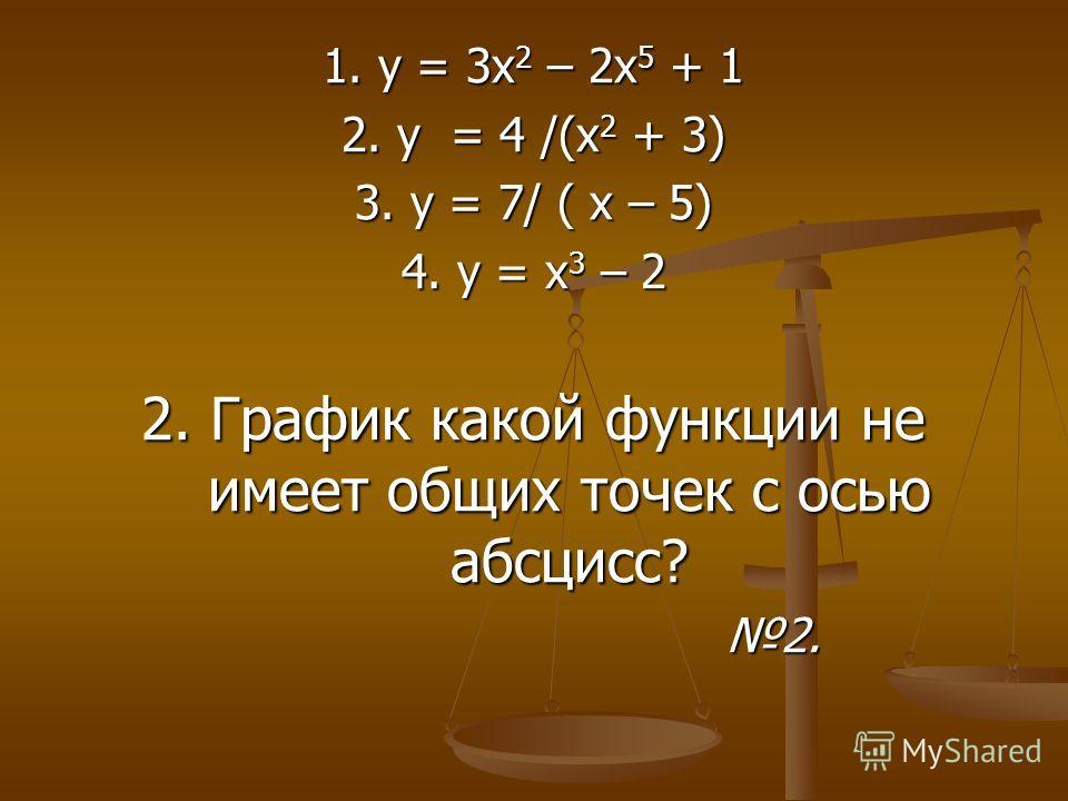 1. у = 3 х 2 – 2 х 5 + 1 2. у = 4 /(х 2 + 3) 3. у = 7/ ( х – 5) 4. у = х 3 – 2 2. График какой функции не имеет общих точек с осью абсцисс? 2. 2.