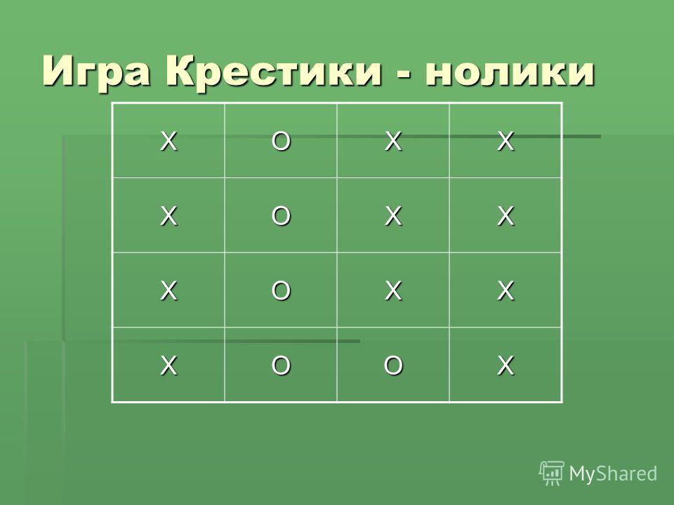 Игра Крестики - нолики ХОХХХОХХ ХОХХ ХООХ