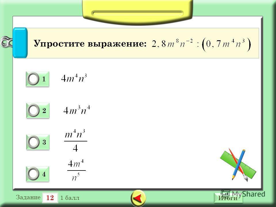 12 Итоги 1 1 0 2 2 0 3 3 0 4 4 0 Упростите выражение: Задание 1 балл